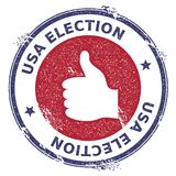 Grunge thumb up rubber stamp. USA presidential election patriotic seal with thumb up silhouette and USA Election text. Rubber stamp vector illustration Royalty Free Stock Image