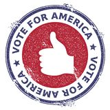 Grunge thumb up rubber stamp. USA presidential election patriotic seal with thumb up silhouette and Vote For America text. Rubber stamp vector illustration Royalty Free Stock Images