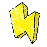 Grunge thunderbolt. Cartoon illustration isolated on white Royalty Free Stock Photography
