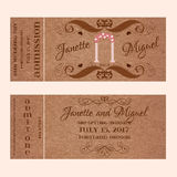Grunge Ticket for Wedding Invitation with arc Royalty Free Stock Image