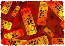 Grunge tickets. Artistic dirt stained grunge textured parchment background design with tickets stock images