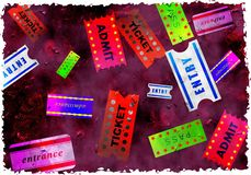 Grunge tickets Stock Photography
