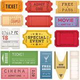 Grunge Tickets and Coupons Collection Royalty Free Stock Images