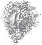 Grunge Tiger Floral Illustration Stock Photos