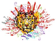Grunge tiger head with red feathers Royalty Free Stock Image