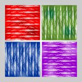 Grunge tile set in different colors - red, green, blue, purple. White  brush strokes on stained background. Modern seamless vector Royalty Free Stock Photo