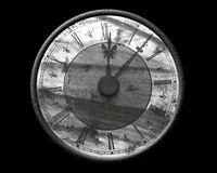Grunge time. Black and white retro clock over black Stock Photography