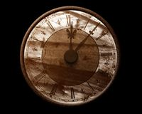 Grunge time. Sepia color retro clock over black isolated Stock Photos