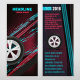 Grunge Tire banner. Vector automotive banner template. Bright modern backgrounds for poster, print, flyer, advertisement, booklet, brochure and leaflet design Stock Photography
