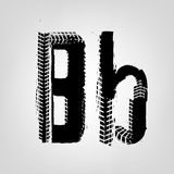 Grunge Tire Letter. B. Unique off road lettering in a black colour. Vector illustration royalty free illustration
