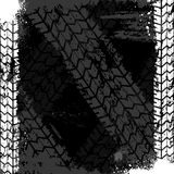 Grunge tire track backgound. Black grunge background with white tire track Stock Photo