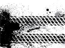 Grunge tire track background with blots Stock Image