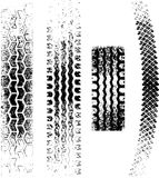 Grunge Tire tracks. A collection of 4 Grunge tire tracks, negative and positive Stock Image