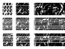 Grunge tire tread with skid mark. On white backgrouund Stock Images