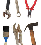 Grunge tools den smutsiga gammala utgångspunkten hammaren, borsten, pincers Arkivbild