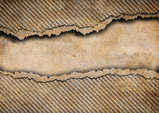 Grunge torn cardboard background with stripes Royalty Free Stock Image