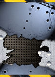 Grunge torn metal plate Stock Photography