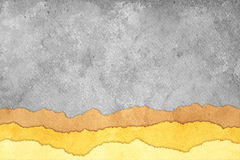 Grunge Torn Paper Background with Stripes. Grunge Gray Torn Paper Background with Brown and Yellow Stripes Royalty Free Stock Photography