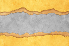 Grunge Torn Paper Background with Stripes. Grunge Gray Torn Paper Background with Brown and Yellow Stripes Royalty Free Stock Image