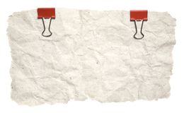 Grunge Torn Paper With Red Clips Stock Image