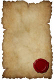 Grunge torn paper with wax seal isolated. On white stock images