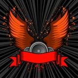 Grunge traversa la bandiera volando del testo Immagine Stock Libera da Diritti