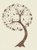 Grunge tree. Retro  illustration with sepia tone effect Stock Photo