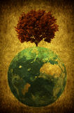 Grunge tree. A grunge red tree on a blue planet Royalty Free Stock Images