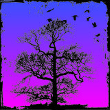 Grunge tree with background Royalty Free Stock Image
