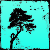 Grunge tree with background Royalty Free Stock Images