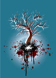 Grunge tree blue and red nature illustration. Grunge illustration of a tree silhouette with gradient colors on a winter or autumn theme Stock Photography