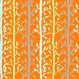 Grunge tree leaves seamless pattern. Orange scrapbooking design background. Vector illustration. Royalty Free Stock Photography