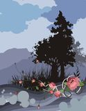 Grunge Tree Silhouette Background Royalty Free Stock Photos