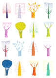 Grunge Trees Collection In Pop-art Colors, With Outlines And Scribbles Royalty Free Stock Images