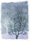 Grunge trees illustration - winter. Mixed media illustration of trees over grunge background - winter Stock Photo