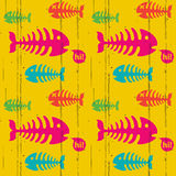 Grunge trendy background. Bright funky seamless background with fish bones Stock Photo