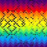 Grunge triangles pattern on rainbow colorful Stock Images