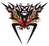 Grunge tribal bat symbol with red heart Stock Images