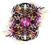 Grunge tribal eight symbol splashes Stock Image