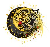 Grunge tribal leopard circle Royalty Free Stock Images