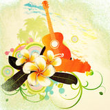 Grunge tropical background with guitar. Abstract grunge tropical background with palm trees, white plumeria flowers and guitar Stock Photos