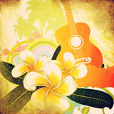 Grunge tropical background with guitar. Abstract grunge tropical background with palm trees, white plumeria flowers and guitar Royalty Free Stock Image
