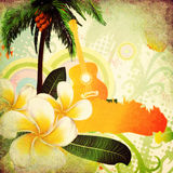 Grunge tropical background with guitar. Abstract grunge tropical background with palm trees, white plumeria flowers and guitar Stock Images