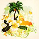 Grunge tropical background with guitar. Abstract grunge tropical background with palm trees, white plumeria flowers and guitar Royalty Free Stock Photo