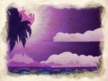 Grunge tropical island at night Royalty Free Stock Image
