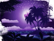 Grunge tropical island at night Royalty Free Stock Photography