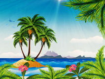 Grunge tropical island in the ocean Stock Images