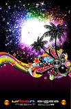 Grunge Tropical Music Event Backgruond for Disco F stock illustration