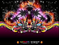 Grunge Tropical Music Event Backgruond for Disco F vector illustration
