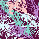 Grunge Tropical palm leaves seamless pattern ,free style jungle floral background for t-shirts, clothes Stock Photography